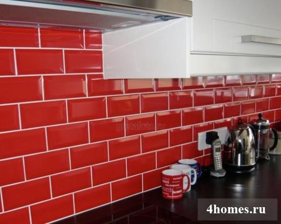 Red ceramic subway tile