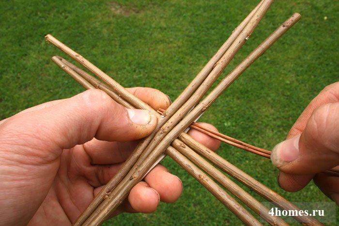 Плетение корзины из ивовых