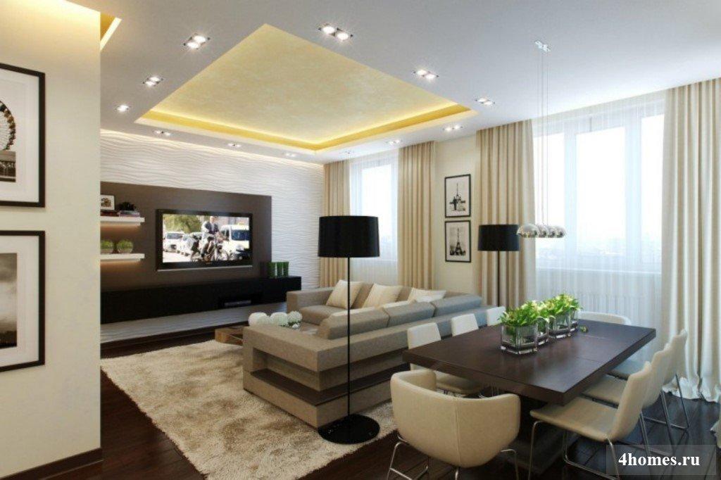 Интерьер в гостиной в светлых тонах фото