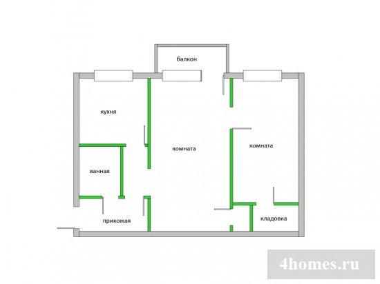 Дизайны перепланировки хрущевки 2 комнаты смежные варианты 170