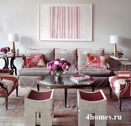 серо розовый интерьер