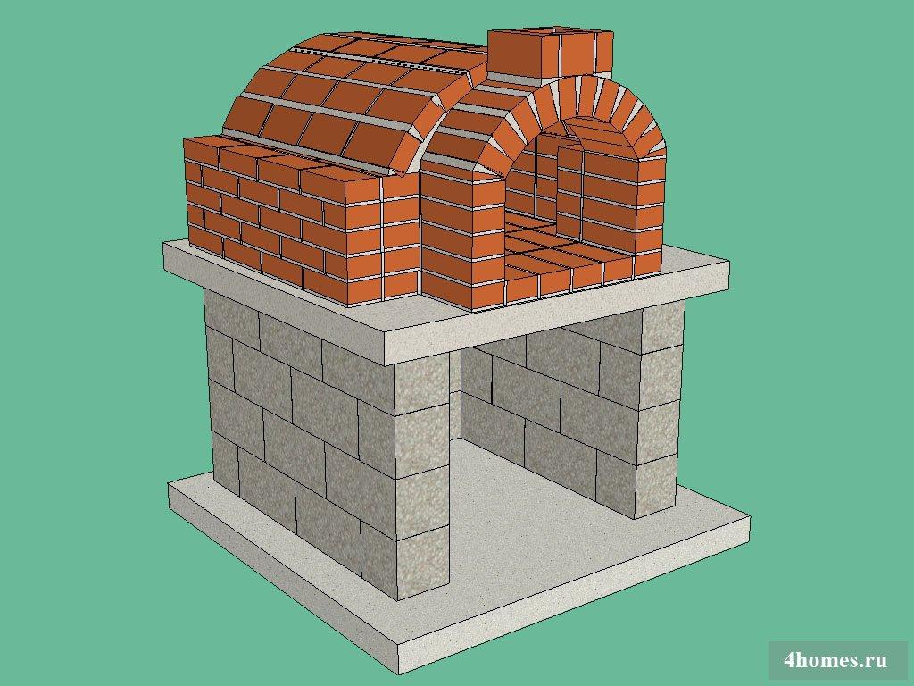 Печь для барбекю и пиццы из кирпича своими руками электрические камины с порталом недорого в спб