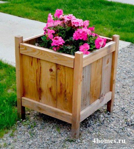 Цветочница из дерева: просто и красиво