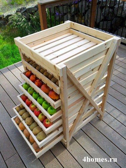 Стеллаж с ящиками для хранения овощей