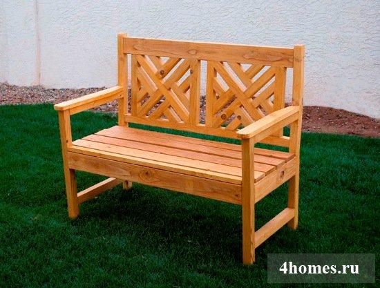 Красивая садовая скамейка своими руками