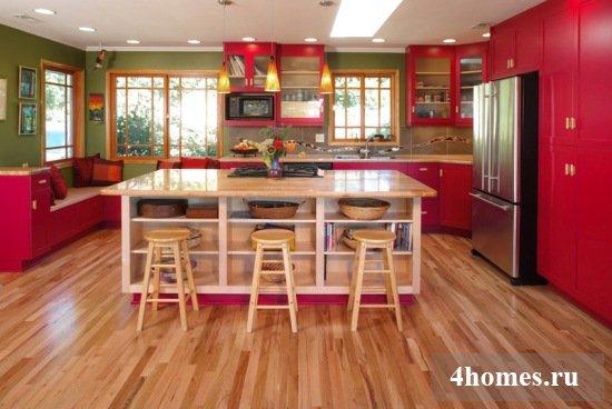 Красная кухня: воплощение смелых дизайнерских решений