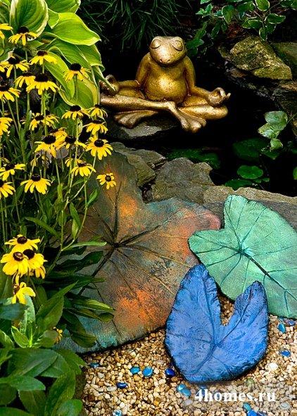 Листья из бетона для украшения дворика или сада
