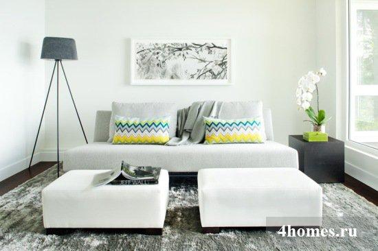 Удобный и красивый дизайн маленькой гостиной