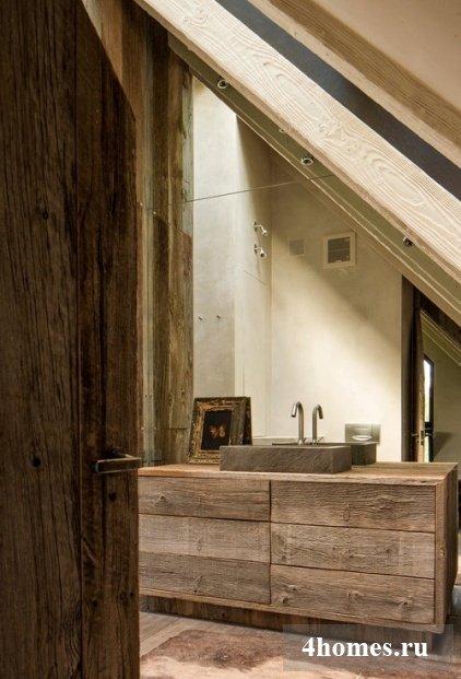 дизайн ванной комнаты деревом