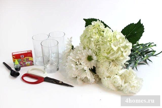 как покрасить цветы в домашних условиях