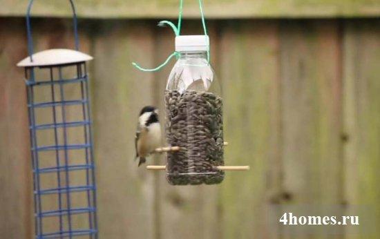своими руками кормушка для птиц из пластиковой бутылки