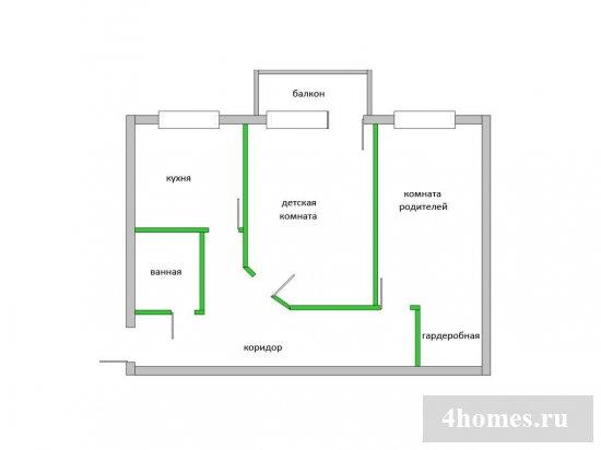 Варианты и фото перепланировки хрущевки с 2-мя смежными комнатами