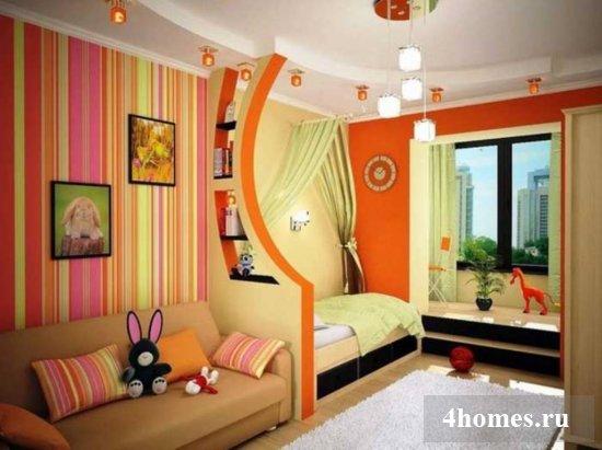 Использование обоев двух видов в спальне (фото)