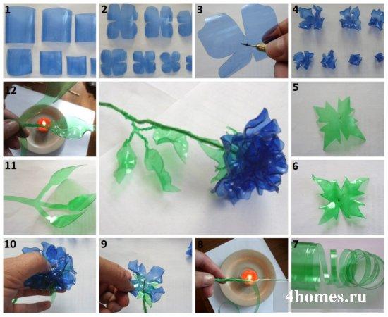 Как своими руками сделать цветы из пластиковых бутылок – идеи и исполнение