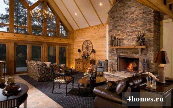 камины в интерьере гостиной фото