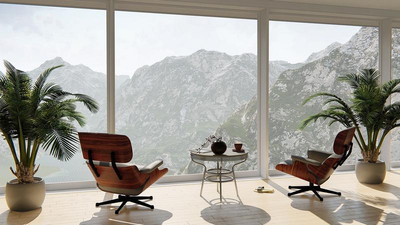 Панорамное окно с видом на горы