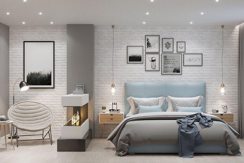 Электрокамин в спальне